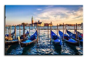 Wall Art Canvas Picture Print of Gondolas Venice Framed