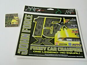 NHRA 2011 John Force 15X Funny Car Champion Drag Racing Pin &  Sticker
