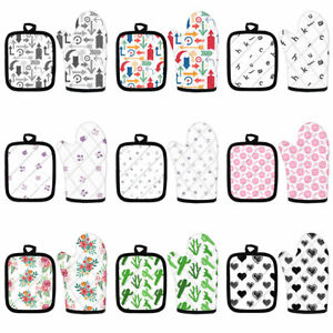 Fashion Print Oven Mitts&Pot Holders Pad 2pc Set Cooking Cotton Microwave Glove