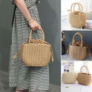 Women's Vintage Straw Small Rattan Beach Handbag Round Woven Satchel Beach Bag