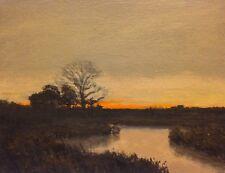 Old Oak Tree Glow Gold Realism Landscape OIL PAINTING ART IMPRESSIONIST Original
