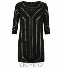 ALL SAINTS Black SILK Beaded QUAKE Art Deco Hand Embellished Dress 14 BNWT €250