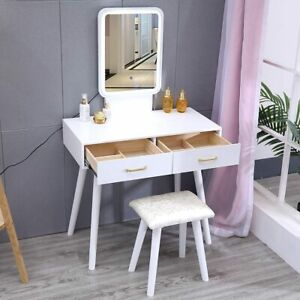 Dressing Table Dimmable LED Lights Mirror Bedroom Makeup Desk Stool Set White UK