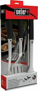 Weber Uline 3Pc Tool Grill BBQ Grilling Set 18 Inch Premium Heavy Duty Stainless