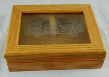 Vtg Wood Playing Cards Storage Display Box Glass Lid Automobile Car Double Deck