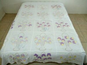 Vintage Cotton Hand Stitched & Applique PANSY BASKET Quilt TOP Unknown Kit Maker