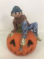 VTG OWC Halloween Pumpkin Scarecrow Jack-O-Lantern Ceramic Old world Christmas