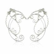Elf Ear Cuffs, OwMell Silver Pearl Beads Earring Handcraft for Filigree Fairy...