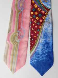 2 Carnaval de Venise vintage ties pure silk bright and colourful but IMPERFECT