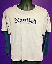 Vtg Nautica Mens T Shirt Size L New Spell Out Long Sleeve Gray Big Logo Large