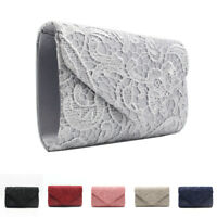Womens Ladies Lace Envelope Clutch Bag Evening Bag Wedding Bridal Bag Handbag