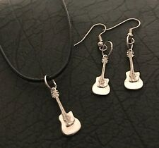 Guitar jewellery Set - 3 Piece Sterling Silver Earrings And Pendant