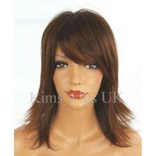 FULL SHORT WOMENS LADIES FASHION HAIR WIG  BROWN MIX FLICKED SHOULDER LENGTH UK