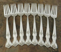 IS Magnolia Set of 8 Salad Forks Wm Rogers Vintage Silverplate Flatware C