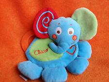 "Chicco Elephant Comforter Doudou Blankie Soft Toy 9"" Blue"