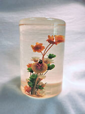Vintage Authentic DaisyGlas Resin / Lucite Paperweight w/ Tiny Flowers & Ladybug