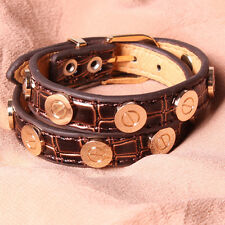 Faux Croc Leather Bracelet Gold Plated Nail Screw Bangle Brown