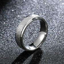2/4/6mm Silver Matted Bands Men/Women'sTitanium Steel  Engagement Ring Size 5-13