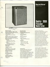 """1986 """"Electro-Voice"""" Brochure: """"Sentry 100A Professional Monitor System"""""""