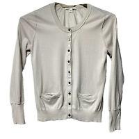 Banana Republic Womens L Button Top Cardigan Sweater Soft Thin Knit Cotton Silk