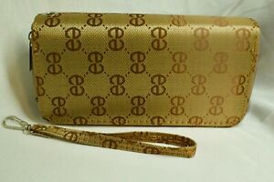 Ladies Wallet 2 zip closure divided sides, Diamond pattern design logo
