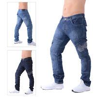 Crosshatch Mens New Cargo Jeans Straight Leg Combat Denim Work Utility Trousers