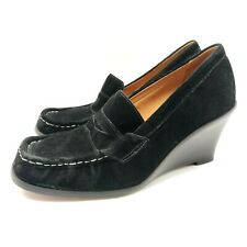 $109.98 Michael Kors Rory Womens Shoes Black Suede Wedge Loafer Heels Size 7.5 M