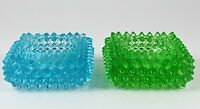 Vintage Fenton Glass Hobnail Spiked Green Blue Tea Light Candle Holders Set