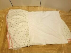 LAURA ASHLEY White Pink Floral Bed skirt Twin Size Rosebuds Shabby EUC