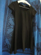 Stretchy Short Plain Black Cotton Short Sleeve Dorothy Perkins Dress in Size 12