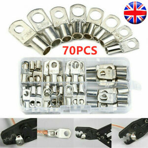 70 Copper Tube Terminal Set Battery Welding Cable Lug Ring Crimp Connectors Tool