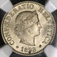 1893 NGC MS 65 SWITZERLAND 5 Rappen Ch BU Swiss Coin POP 5/2 (18090411C)