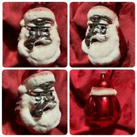 🎅🏻  Vintage Santa Clause Head Face Glass German Figural Christmas Ornament