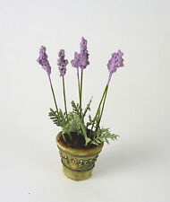 Dollhouse Miniature Artisan Handmade Planter Pot of Lavender Flowers