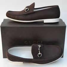 GUCCI New sz 13.5 - US 14.5 Authentic Designer Mens Horsebit Loafers Shoes Brown