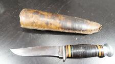 w Cattaraugus Fixed Blade Knife with Leather Sheath