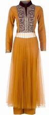 NWT 2013 Manish Malhotra Anakali Dress Sz 38 Mustard Tulle NO PANTS OR SCARF