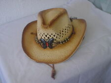 BUTTERFLY MEDALLION COWBOY STYLE STRAW HATS