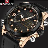 NAVIFORCE 9097 Men Sport Watches Dual LED Digital Analog Quartz Leather Watch