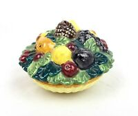 Vintage Ceramic Basket Weave Bowl With Hand Painted Fruit With Lid Saca Italy