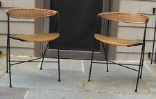 2 Dining Chairs / Stools by Arthur Umanoff Mid Century Modern  Iron Wood Rattan