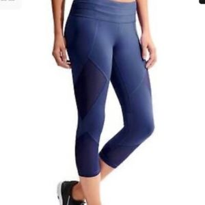 Athleta Mesh Sonar Capri Cropped Leggings Blue Size XS