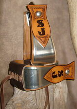 "US Made Metal Bound Custom Stirrups 2.5"" Tread Personalized, Your Initials.  G&E"