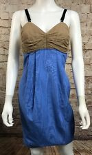 yigal azrouel dress Size 4 Blue Tan Spaghetti Strap