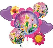 Disney Tinkerbell Happy Birthday Party Favor 5CT Foil Balloon Bouquet
