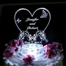 Butterfly Heart Lighted Wedding Cake Topper Lit Acrylic Cake Top Personalized