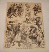 1887 magazine engraving ~ WAX FIGURES, Shakespeare, etc.
