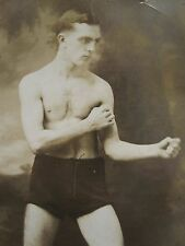 ANTIQUE VINTAGE BOXING TRUNKS SHOES FIST MUSCULAR YOUNG MAN GAY INT RPPC PHOTO