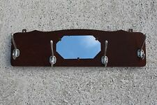 Vintage Mid Century Modernist Wooden Coat Hat Wall Rack With Mirror