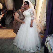 Custom Lace Sleeve Plus Size Bridal Gown Wedding Dress 6-8-10-12-14-16-18++